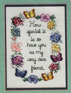 Sandi Phipps Counted Cross Stitch Sampler Kit Dear to Me Friendship Quote