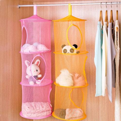 3 Shelf Hanging Storage Net Kids Toy Organizer Bag Bedroom Wall Door Closet、Fad