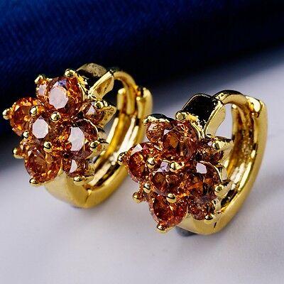 Real Gold Plated Luxury Champagne CZ Crystal Women Elegant Hoop Earrings X0233