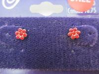 14kt Gold Red Crystal Flower Earrings