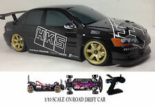 1/10 Scale Mitsubishi Lancer EVO 9 RTR RC Drift Cars 4WD 2.4Ghz & Charger