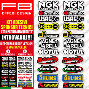 Adesivi Stickers KIT SPONSOR MOTO TECNICI 8 MOTO GP SBK OHLINS ALTA QUALITA'