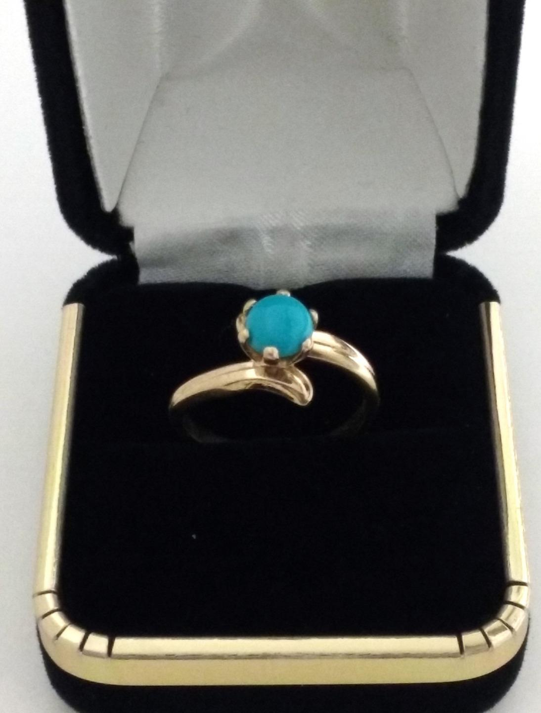 Turquoise Ring in Real Solid 14k Yellow gold Nice Jewelry Gift for Women