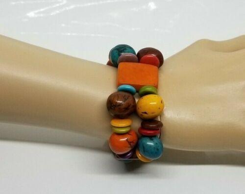 Vintage Plastic Celluloid Stretch Colorful Bracele