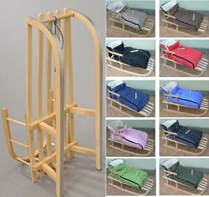 holzschlitten mit r ckenlehne mit winterfu sack zugleine schlitten 10 farben ebay. Black Bedroom Furniture Sets. Home Design Ideas