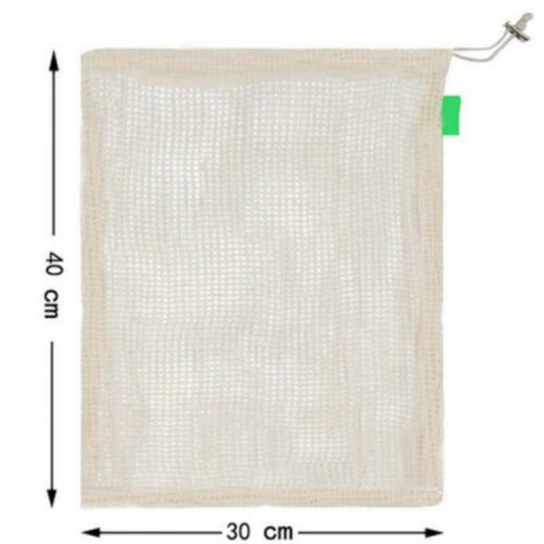 Eco-friendly Cotton Mesh Drawstring Bag Reusable Produce Fruit Storage Pouch-WI