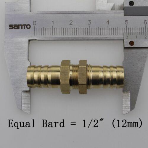 Brass Bulkhead Fitting Hose Barb Pipe Tube Connector Fuel Aquarium Boat Reducing