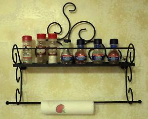 Dettagli su Mensola in ferro battuto porta spezie barattoli porta rotolo  carta da cucina
