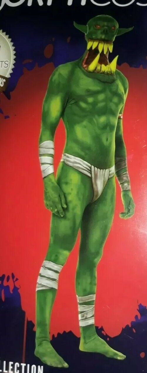 Morph Costume Adulte Vert Orc Mâchoire compte-gouttes Morph Costume Taille Halloween Neuf