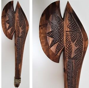 FIJIAN-THROWING-AXE-WAR-CLUB-TIKI-MAORI-WEAPON-WALL-HANGING-WOOD-CARVED-ART-50CM