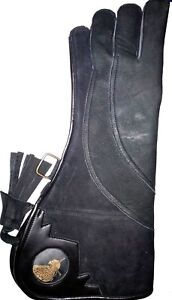 Heavy-Duty-Eagle-Falconry-Glove-17-034-Long-4-Layer-Nubuck-Leather-Dull-Black