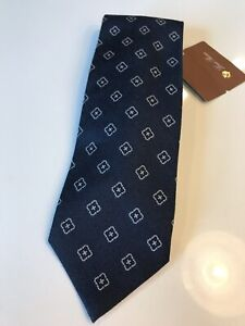 325-Loro-Piana-Cashmere-and-Silk-Pattern-Tie-Navy-Blue-Made-in-Italy