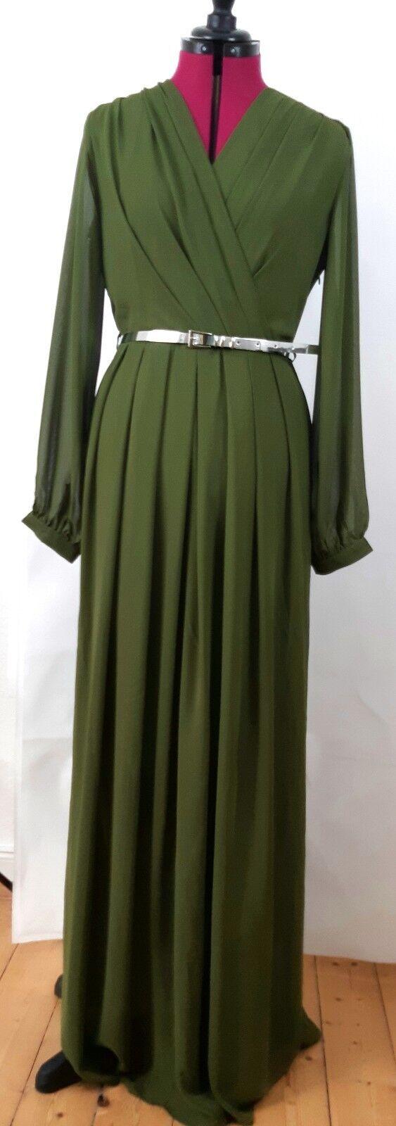 Abendkleid Gr. 44 Grün dunkelgrün bodenlang