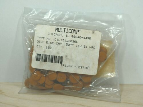 150pF 1000v 1kv Vdc 5/% NPO Multicomp C1C151J3AS6L Disc Capacitor Details about  / QTY 100