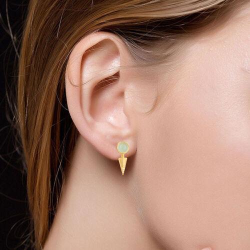 Aqua Chalcedony /& White Zirconia Drops Brass Earrings 14K Gold Plated Jewelry