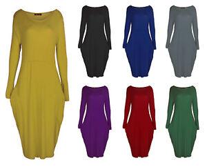 Womens-Ladies-Italian-Drape-Long-Sleeve-Lagenlook-Side-Pockets-Baggy-Midi-Dress
