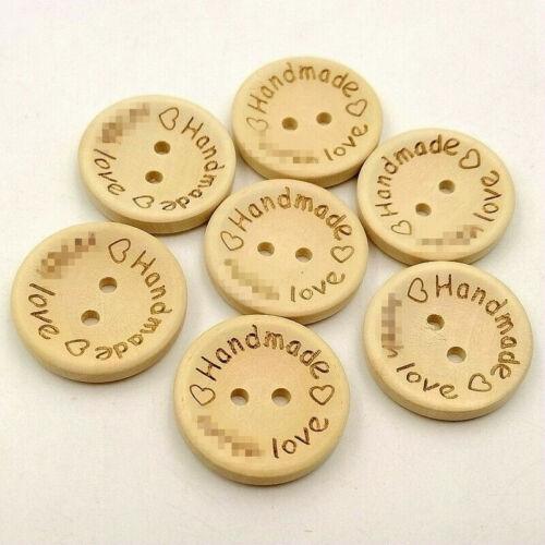 100Pcs 2 Holes Wooden Buttons Handmade Love  Scrapbooking Sewing Accessories DIY