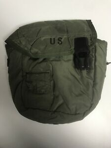 U.S. MILITARY ISSUED 2 QT CANTEEN Pouch w/ strap & belt clips (KT1)
