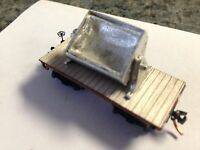 Ulrich N Scale Old Time Flat Car With Dumping Mine Cart All Metal 3 Car Set
