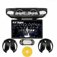 US Hot 15.6'' Car DVD Player TV Monitor Roof Mount Flip Down Free Headphones