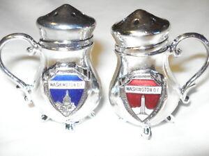 Salt And Pepper Dc vintage silver metal washington dc mini teapot salt and pepper