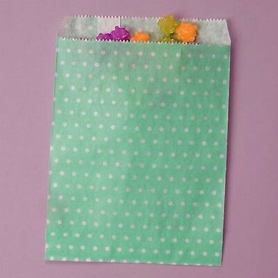 19ct. Cute Mint Green & White POLKA DOT Favor Paper Sleeves Candy & Treat Bags