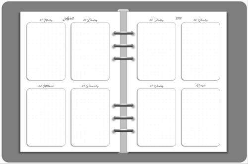 1 Woche auf 2 Seiten A5 Personal Wide Personal A6 Pocket Mini Kalendereinlagen
