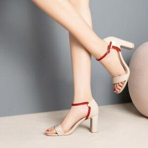 Womens-Ankle-Strap-Splice-Mid-Heels-Sandals-Open-Toe-Summer-Party-Dress-Shoes-Sz