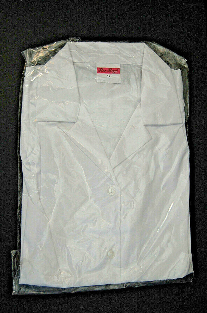 Lady's Chemise, Neuf, Taille 10, Blanc, Collier, Rex Regal Work Wear, Manches Courtes