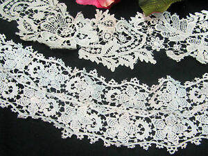 Antiques 2 Antique Victorian Era Handmade Lace Ecru Duchess Crochet Dolls Collars Trim Yet Not Vulgar