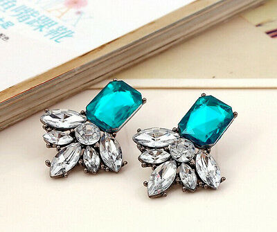 Hot Fashion Lady Charm Geometry Crystal Leaf Flower Statement Stud Earring