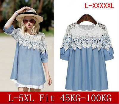Women lace stitching Linen Denim loose pleated dress was thin shirts Tops Blouse