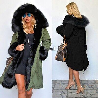 New Women's Warm Winter Faux Fur Hooded Parka Coat Overcoat Long Jacket Outwear