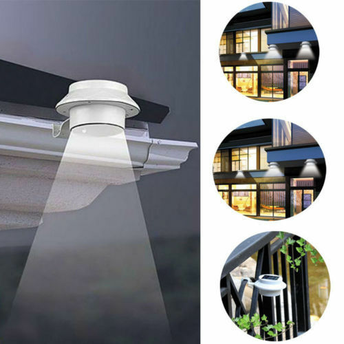 Outdoor Solar Powered 3 LED Wall Path Landscape Mount Garden Fence Light Lamp US