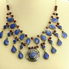 LAPIS Belly Dance ATS Tribal NECKLACE Kuchi Afghani 806a4