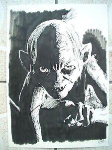 A4 encre noire dessin croquis seigneur des anneaux hobbit - Dessin seigneur des anneaux ...