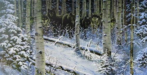 """Night Stalkers By Derk Hansen Wolf Art Print 33/"""" x 17/"""" Image Size"""