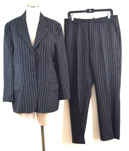Ralph Lauren Womens Wool linen Black Striped Caree