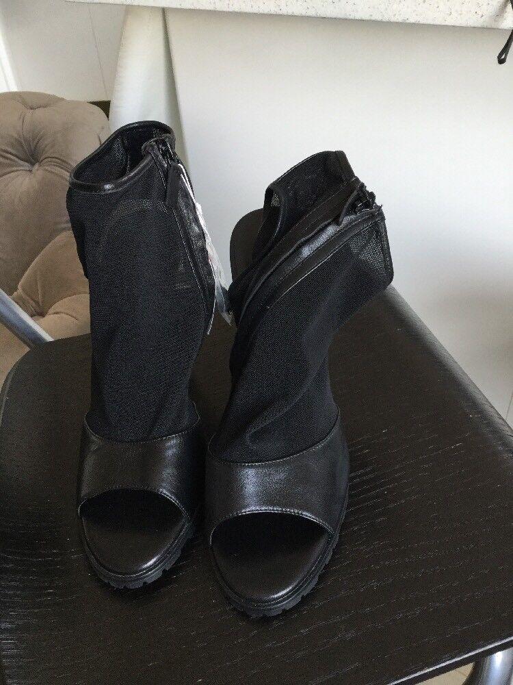 Zara Nero Pelle 39 e Mesh Sandalo Taglia 39 Pelle EU/ 7b3939
