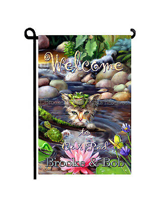 Kitten Garden flag WELCOME to our Pad FROG turtle pond personalized cat GIFT