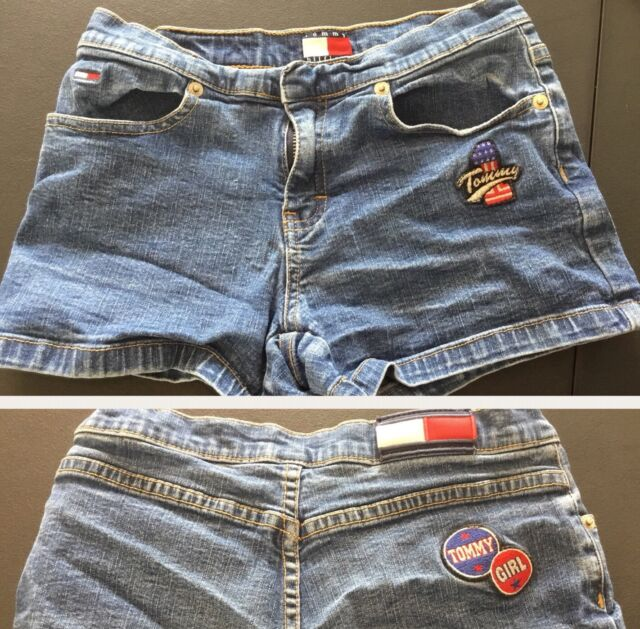 61594e3ab Vintage Tommy Hilfiger Denim Shorts Spell Out Girls Sz 10 Box Flag Logo 90's