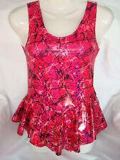 Handmade Pink Black Spandex Dress.Suit Gymnastics.Twirling, iceskate size 10yrs