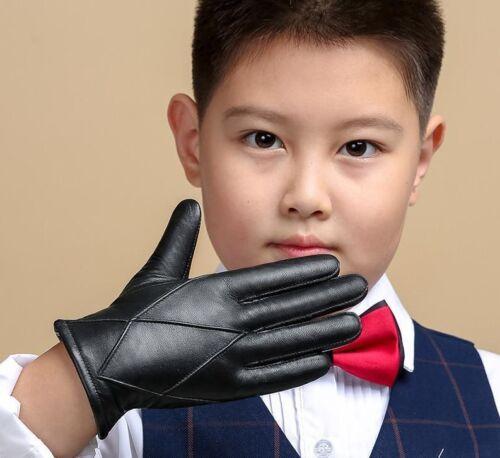 Children's Leather Winter Gloves For Kids Baby Boys Hand Warmer Soft Wool Mitten