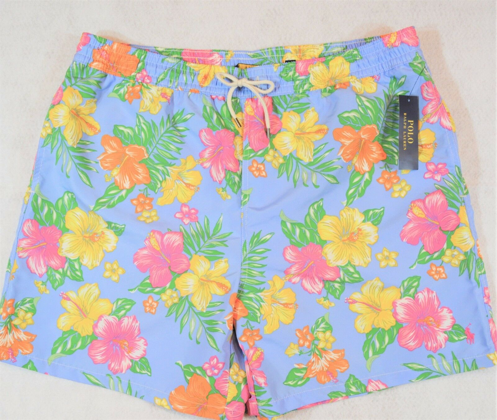 Polo Ralph Lauren Swim Trunks Board Shorts bluee Floral Size 2XB 2X NWT
