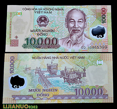 Asia Paper Money: World Methodical Vietnam 10000 10k Dong P-119 Unc Currency WÄhrung Polymer-banknoten Asien Soft And Antislippery