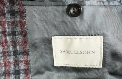 Gray Plaid Wool//Silk//Linen Flannel Blazer NWT Samuelsohn Size 38-46