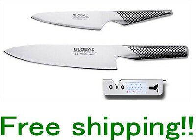 GLOBAL 3-Piece Set B (G-2 Chef's knife / GS-3 Petty Knife /Speed Knife Sharpener