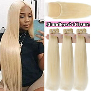 Platinum-Blonde-Peruvian-9A-Virgin-Human-Hair-Weave-3Bundles-OR-Lace-Closure-US