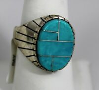 Navajo Indian Ring Turquoise Inlay Oval Size 11-3/4 Sterling Silver Ray Jack