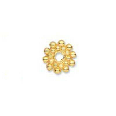 50 GOLD PLATED FLAT BEADED RONDELLE BEADS 8MM